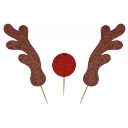 View the ANTLERS & RED NOSE 3 pc glitter card cake topper pick decoration online at Cake Stuff