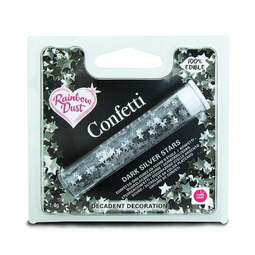 View the DARK SILVER STARS edible confetti sprinkles online at Cake Stuff