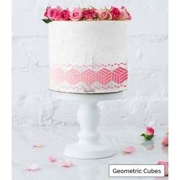View the GEOMETRIC CUBES border cake icing stencil by Lissie Lou online at Cake Stuff