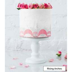 View the RISING ARCHES border cake icing stencil by Lissie Lou online at Cake Stuff