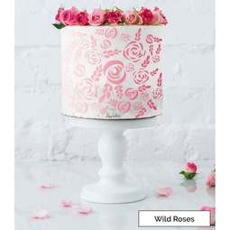 View the WILD ROSES full size cake icing stencil by Lissie Lou online at Cake Stuff