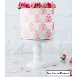 View the TRADITIONAL DAMASK full size cake icing stencil by Lissie Lou online at Cake Stuff