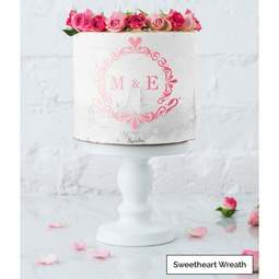 View the SWEETHEART WREATH monogram cake icing stencil set by Lissie Lou online at Cake Stuff