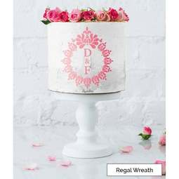 View the REGAL WREATHS monogram cake icing stencil set by Lissie Lou online at Cake Stuff