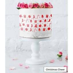 View the CHRISTMAS CHEER full size cake icing stencil by Lissie Lou online at Cake Stuff