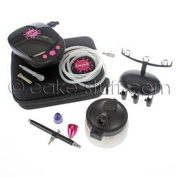 View the AIRBRUSH gun, compressor, pen holder & cleaning station - bundle online at Cake Stuff
