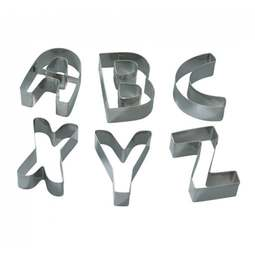 View the **CLEARANCE** LARGE ALPHABET 26 pc stainless steel cookie & icing cutter set online at Cake Stuff