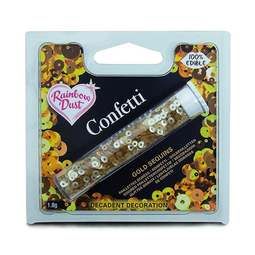 View the GOLD SEQUINS edible confetti sprinkles online at Cake Stuff