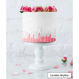 View the LONDON City Skyline cake icing border stencil online at Cake Stuff