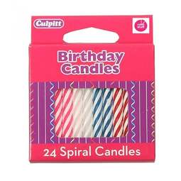 View the 24 pk traditional CANDY STRIPE spiral birthday cake candles online at Cake Stuff