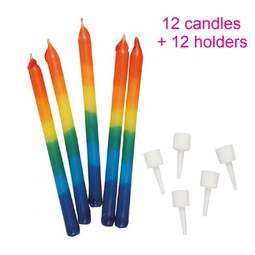 View the 12 RAINBOW 70mm cake candles with holders online at Cake Stuff