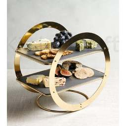 View the natural slate & gold 2 tier wheel frame cake display stand online at Cake Stuff
