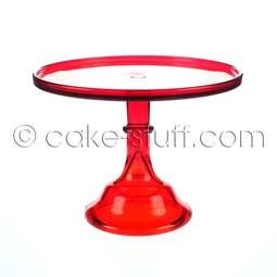"View the 10"" flint glass cake pedestal stand - Red online at Cake Stuff"