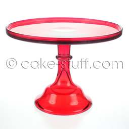 "View the 12"" flint glass cake pedestal stand - Red online at Cake Stuff"