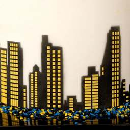 View the City Skyline Windows & Mask professional cake stencil #17 online at Cake Stuff