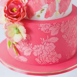 View the Rose Lace Tall professional cake stencil #35 online at Cake Stuff