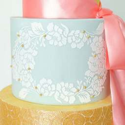 View the Rose Lace Wreath professional cake stencil #31 online at Cake Stuff