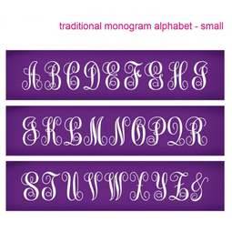 View the Traditional Monogram Small Alphabet mesh cake stencil set #32 - 46mm letters online at Cake Stuff