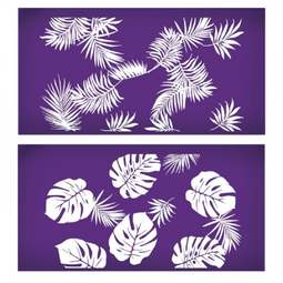 View the Avalon Tropical Leaf 2 piece professional mesh cake stencil set #38 online at Cake Stuff