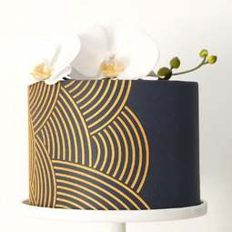 View the Arc Stripes 6 inch tall professional cake stencil #42 online at Cake Stuff