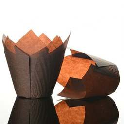 View the CHOCOLATE BROWN tulip cupcake baking cases pk 50 online at Cake Stuff