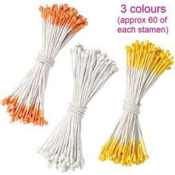 View the 3 assorted COLOUR sugar flower stamens - pk 180 online at Cake Stuff