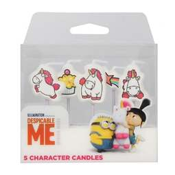 View the pk 5 FLUFFY - MINIONS Despicable Me character cake candle picks online at Cake Stuff