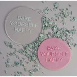 View the BAKE YOURSELF HAPPY cookie & icing embosser  online at Cake Stuff