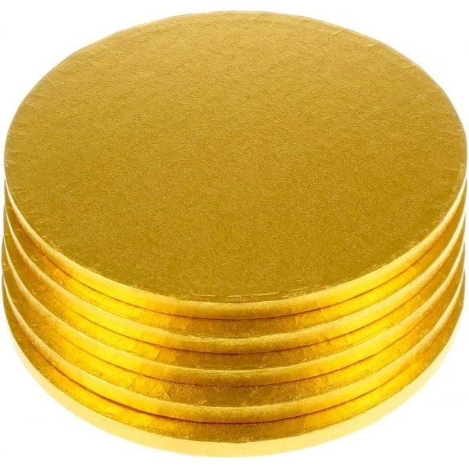 "View the 10"" (5 pack) GOLD round cake boards / drums online at Cake Stuff"
