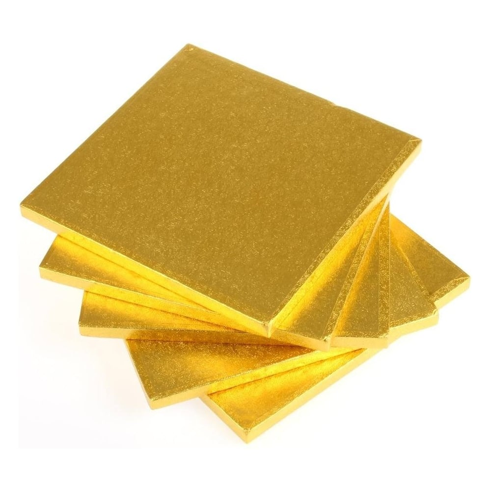 "View the 11"" (5 pack) square gold cake boards / drums online at Cake Stuff"