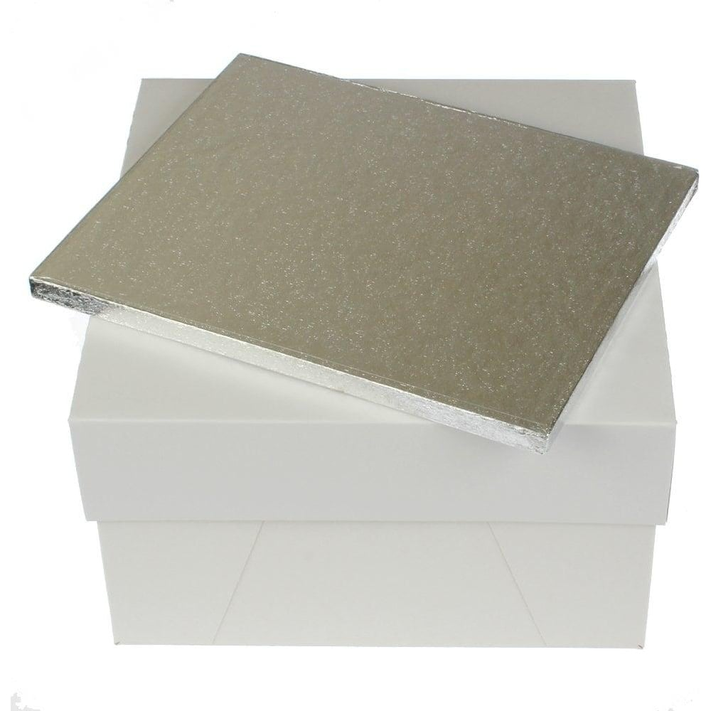 "View the 12"" x 9"" oblong thick cake board / drum & matching box ***COMBO*** online at Cake Stuff"