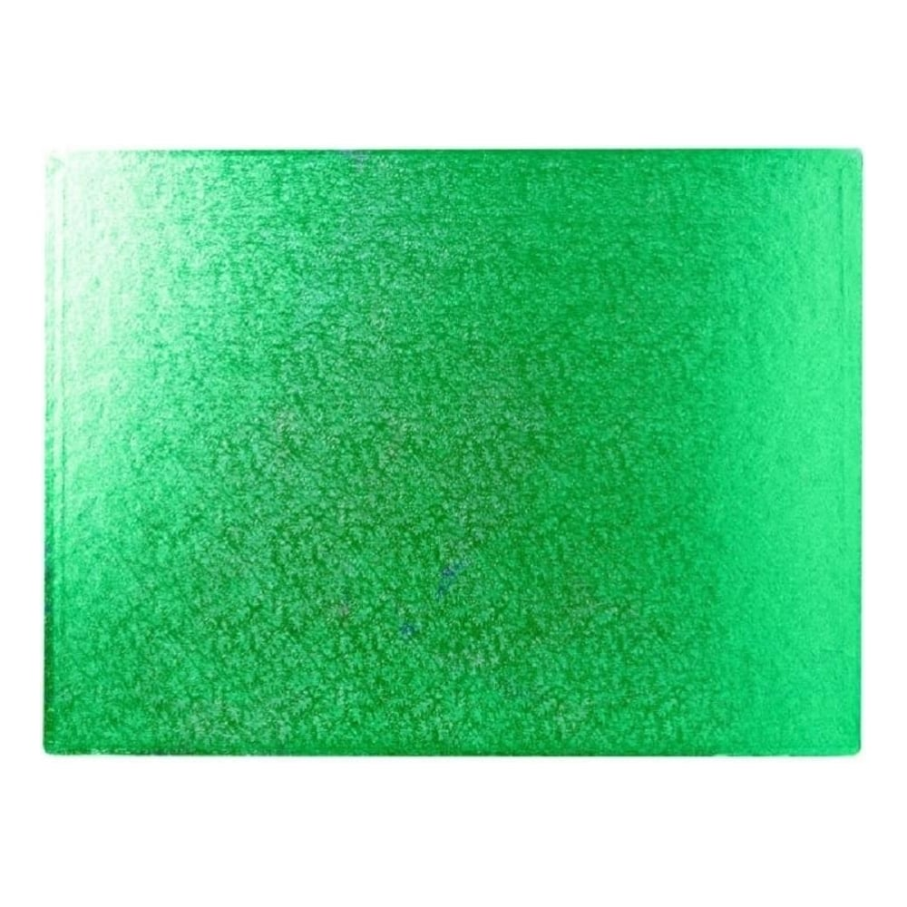 "View the 14"" x 10"" GREEN oblong rectangular double thick cake board online at Cake Stuff"