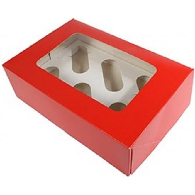 View the 25 RED cupcake boxes & inserts - hold 6 online at Cake Stuff