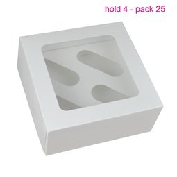 View the 25 WHITE cupcake boxes & inserts - hold 4 - original design online at Cake Stuff