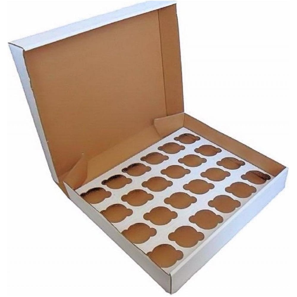"""View the 5 WHITE heavy duty cupcake boxes & inserts 3"""" deep - hold 24 online at Cake Stuff"""