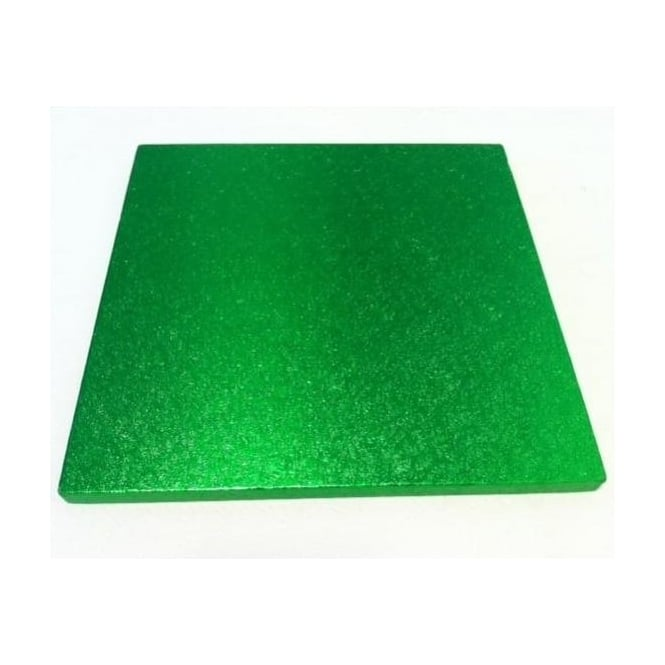 "View the 8"" GRASS GREEN square thick cake board / drum online at Cake Stuff"