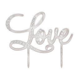 View the LOVE silver diamante pick cake topper decoration online at Cake Stuff