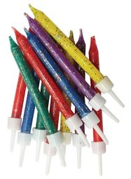 View the 12 pk multi coloured glitter cake candles with holders online at Cake Stuff