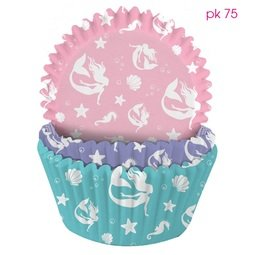 View the Mermaid pink, lilac & turquoise cupcake baking cases - pk 75 online at Cake Stuff