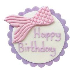 View the MERMAID TAIL Happy Birthday edible icing plaque decoration online at Cake Stuff