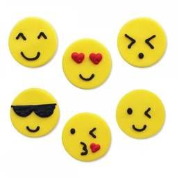 View the pk 6 EMOJI / EMOTICON edible icing cake & cupcake decorations online at Cake Stuff