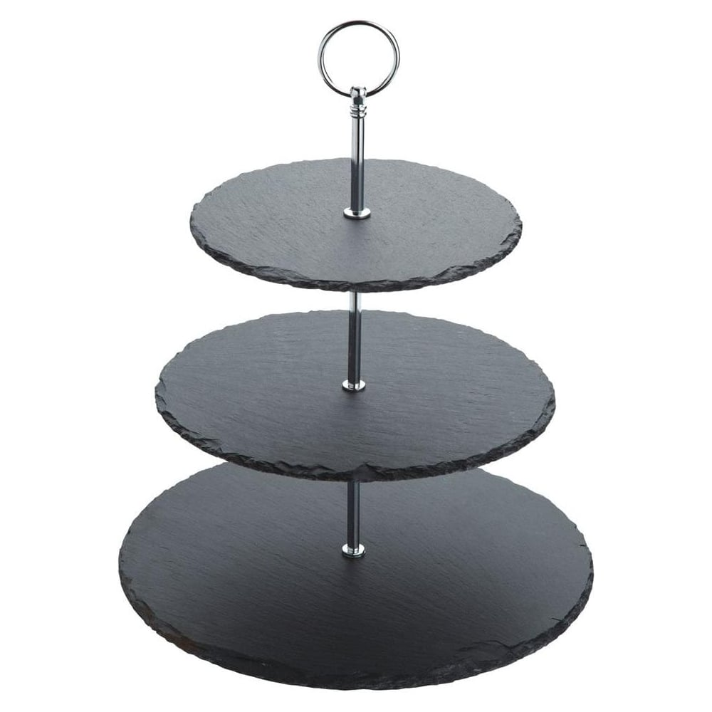 View the designer 3 tier black slate cupcake cake stand online at Cake Stuff