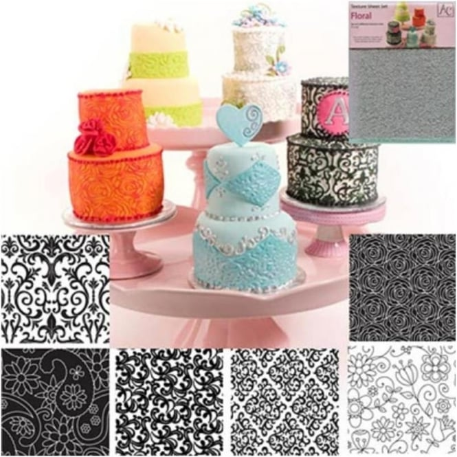 View the Floral icing texture sheet impression mat 6 pc set online at Cake Stuff