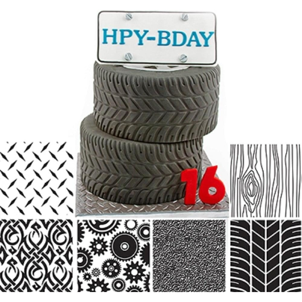 View the MANLY icing texture sheet impression mat 6 pc set online at Cake Stuff