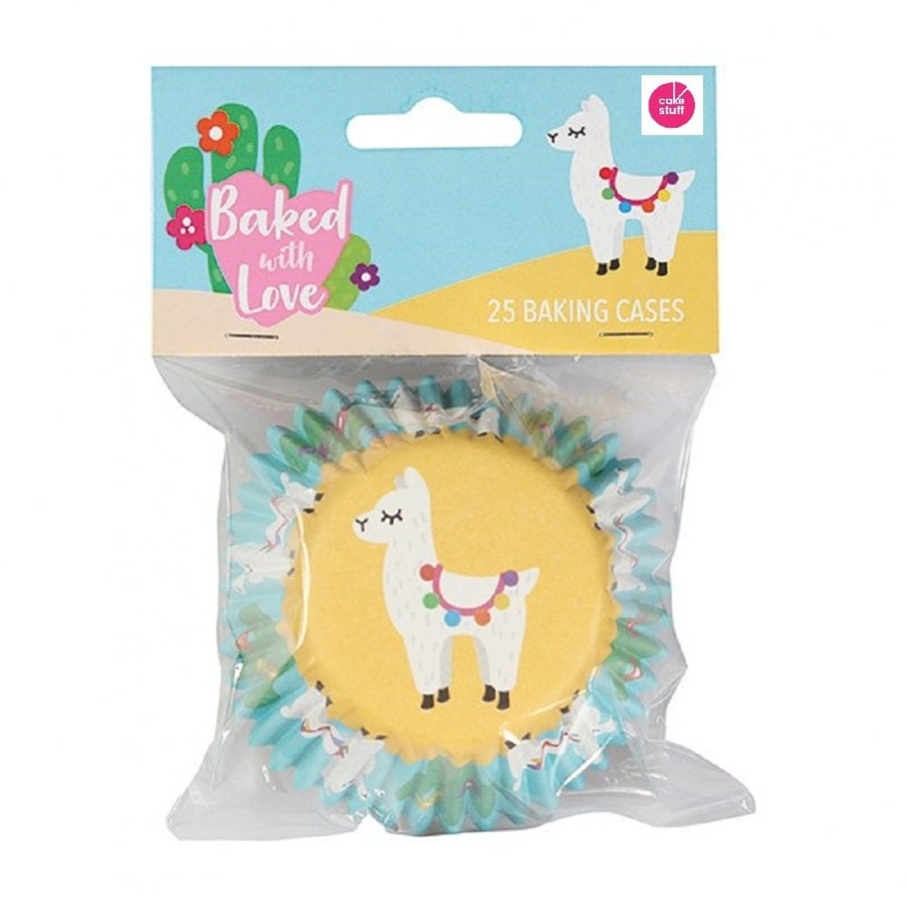 View the LLAMA foil lined cupcake baking cases pk 25 online at Cake Stuff