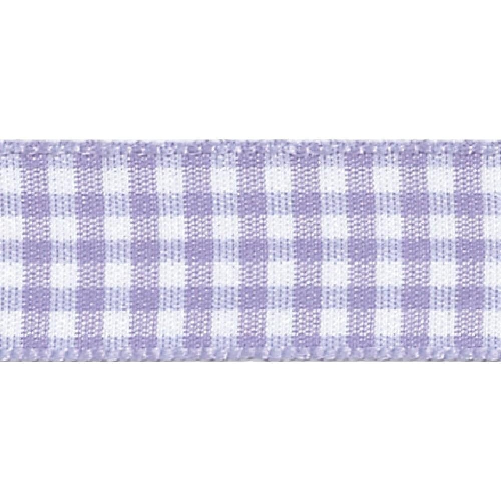 View the ORCHID Lilac 15mm x 20m Gingham check ribbon online at Cake Stuff