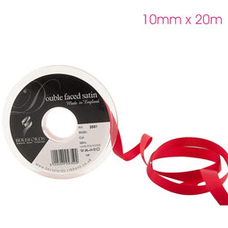 View the RED 10mm x 20m double face satin cake ribbon online at Cake Stuff