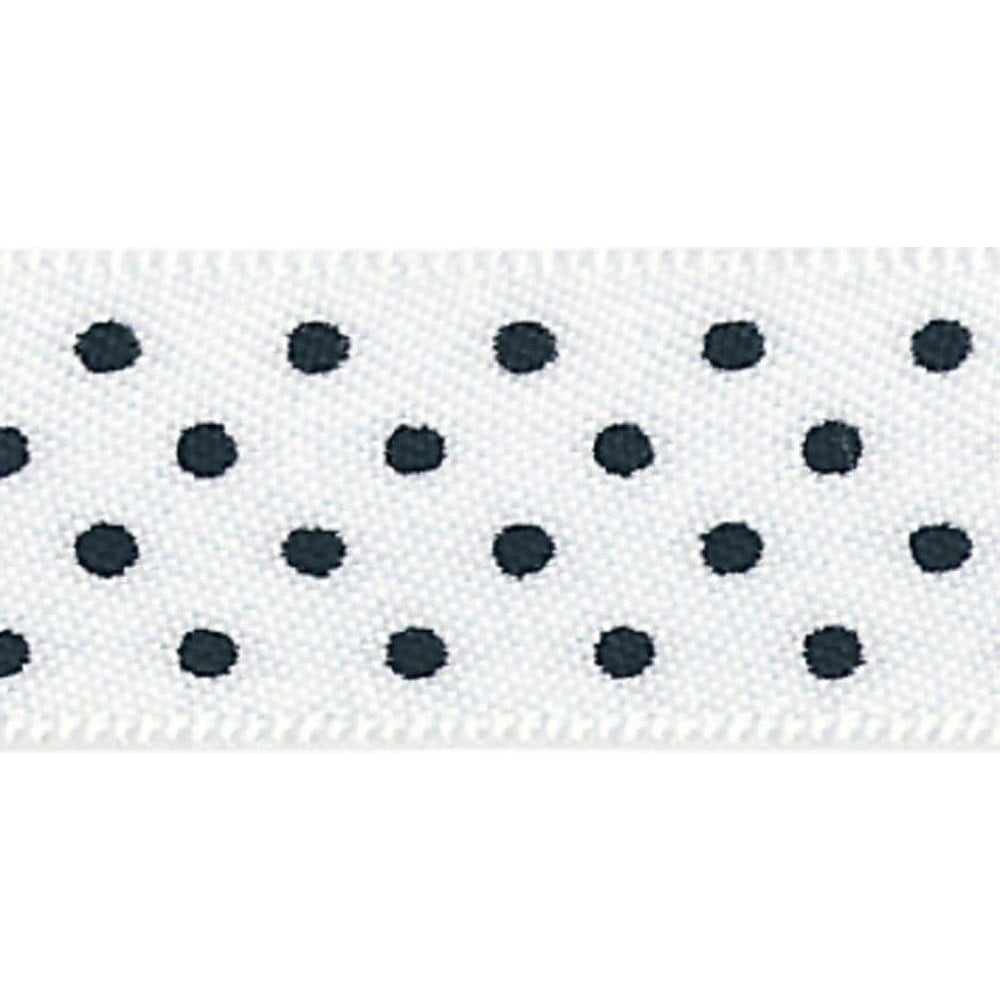 View the WHITE 15mm x 20m Micro Dots ribbon online at Cake Stuff