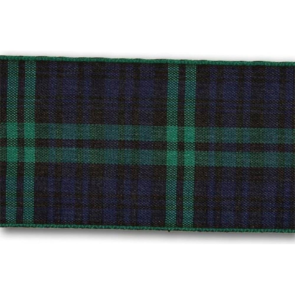 View the Black Watch 70mm Scottish tartan plaid ribbon x 25m reel online at Cake Stuff