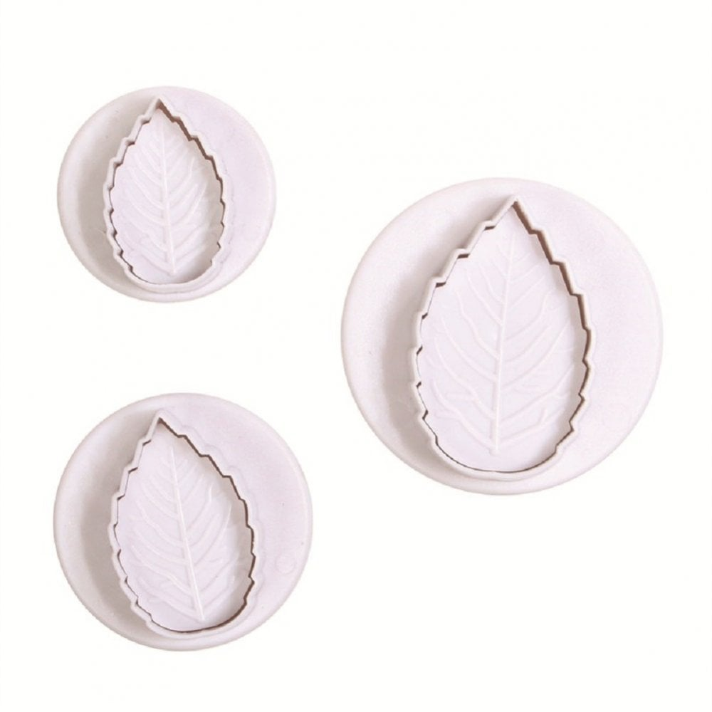 View the *PROMO* Rose Leaf 3 piece plunger icing cutter set online at Cake Stuff